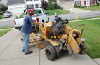 unloading the stump grinder